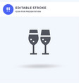 wine icon filled flat sign solid vector image vector image