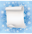 Winter background with sheet of paper and vector image vector image
