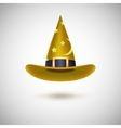Yellow witch hat for Halloween vector image vector image