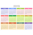 2019 year annual calendar monday first english vector image vector image