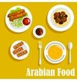 Arabian dishes with kebab falafels halva icon vector image vector image