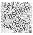 back school fashion Word Cloud Concept vector image vector image