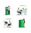 bank financial service semi flat rgb color set