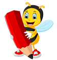 Bee cartoon holding red pencil vector image