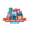 big sale discount banner with gift box vector image