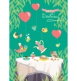 birthday party card cute birds and table vector image