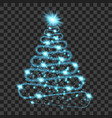 blue particle wave in form of christmas tree vector image