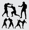 boxing and fighting training sport silhouette vector image vector image