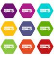bus icon set color hexahedron vector image vector image