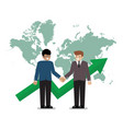 business handshake on the background of world map vector image vector image