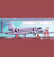 cartoon gray airlinerin aviation hangar vector image