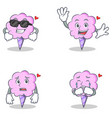cotton candy character set with cool waving afraid vector image vector image