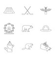 country of canada icon set outline style vector image vector image