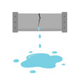 crack in the pipe dripping water pipe icon vector image