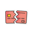 credit card cancelled colored icon on white vector image