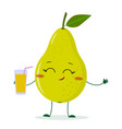 cute pear green cartoon character holding a glass vector image vector image