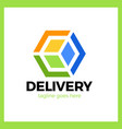 delivery box arrow logotype colorful gradient vector image vector image