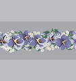 drawing of seamless border with violaceous flowers vector image vector image