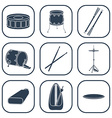 Drum icons Silhouette Isolated vector image vector image