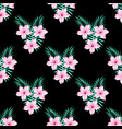 floral pattern on black vector image vector image