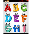 funny letters alphabet cartoon vector image
