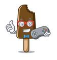 gamer chocolate ice cream mascot cartoon vector image