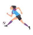 girl playing soccer young woman football player vector image vector image