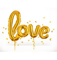 golden toy balloons love valentines day 3d icon vector image