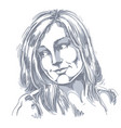 hand-drawn portrait of white-skin romantic woman vector image vector image