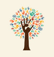 hand print tree of diverse community team vector image vector image