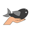 hand with fish vector image vector image