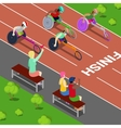 Handicapped People Racing in a Competition vector image vector image
