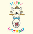 happy birthday card with a cat for children vector image vector image