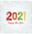 happy new year 2021 winter background with snow vector image