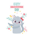happy valentines day cute female cat with bow vector image vector image