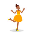happy young black woman in yellow dress laughing vector image vector image