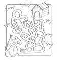help puppy find path to his house labyrinth maze vector image