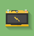 Icon of car accumulator battery Flat style vector image