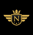 letter n shield wing vector image vector image