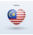 Love Malaysia symbol Heart flag icon vector image