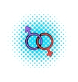 Male and female signs icon comics style vector image