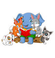 many animal reading book with big elephant vector image