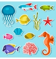 Marine life set of sticker objects and sea animals vector image vector image