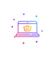 online shopping cart line icon laptop sign vector image vector image