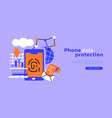 phone data protection web template background vector image vector image