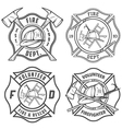 Set of fire department emblems and badges vector image vector image