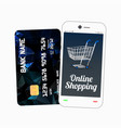 smartphone with credit card vector image