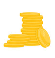 stack of gold coins on white vector image vector image