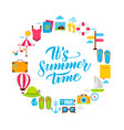 summer time flat circle vector image vector image