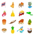 Thailand icons set isometric 3d style vector image vector image